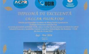 Filiala CECCAR Iași a primit diploma de excelență pentru contribuția la dezvoltarea dialogului social la nivel județean