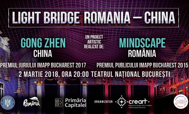 Podul de lumini România-China: proiecție video pe fațada Teatrului Național I. L. Caragiale din București, pe 2 martie