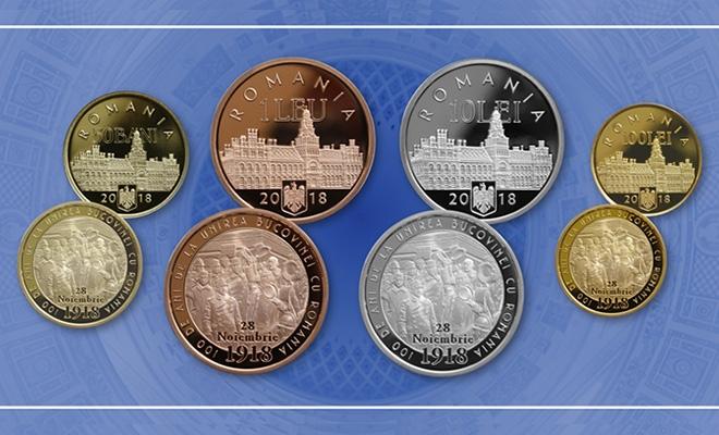 Emisiune numismatică dedicată împlinirii a 100 de ani de la unirea Bucovinei cu România
