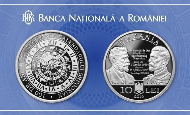 BNR a lansat o monedă de argint cu tema 100 de ani de la adoptarea calendarului gregorian de către România