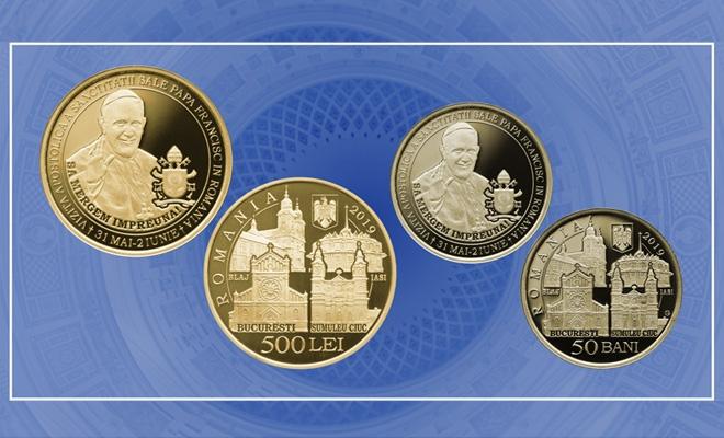 BNR lansează monede din aur și alamă pentru colecționare și pune în circulație o monedă din alamă, cu tema Vizita Apostolică a Sanctității Sale Papa Francisc în România