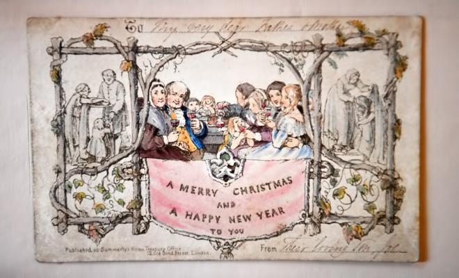 Prima felicitare de Crăciun tipărită, din 1843, expusă la Londra
