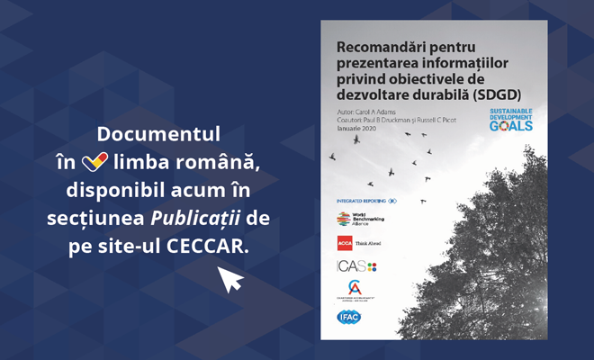 """Documentul IFAC """"Recomandări pentru prezentarea informațiilor privind obiectivele de dezvoltare durabilă (SDGD)"""", pus la dispoziție în limba română de CECCAR"""