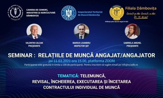 CECCAR Dâmbovița: Seminar online privind relațiile de muncă