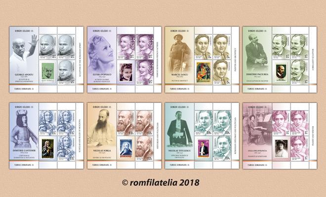 """Romfilatelia introduce astăzi în circulaţia emisiunea de mărci poştale """"Români celebri"""", partea a II-a"""