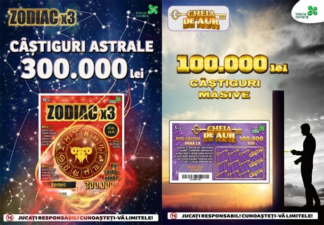 Loteria Română lansează lozurile răzuibile Cheia de Aur şi Zodiac x 3, cu premii de 11,5 milioane lei
