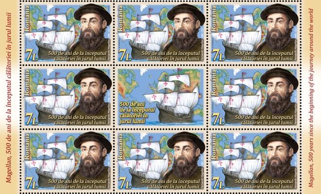 """O nouă emisiune de mărci poştale – """"Magellan, 500 de ani de la începutul călătoriei în jurul lumii"""""""