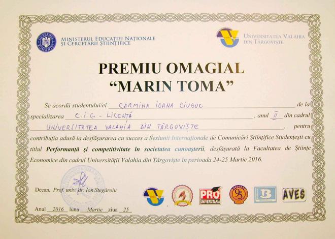 """CECCAR Dâmbovița: Premiul omagial """"Marin Toma"""""""