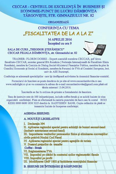 """CONFERINȚA CU TEMA """"FISCALITATEA DE LA A LA Z"""""""