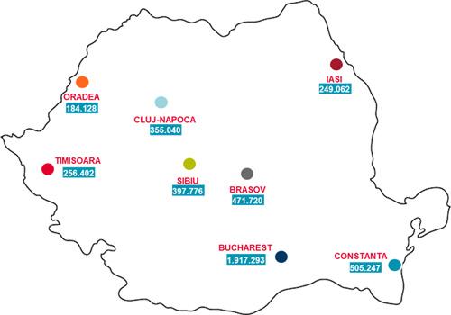 Harta orașelor reședință de județ care au atras cei mai mulți turiști în hoteluri în 2017